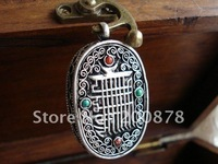 TGB029  Tibetan silver KALACHAKRA amulet prayer box, Nepal copper vintage antiqued pendants