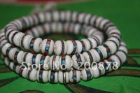BRO820   Tibetan 108 beads white Yak bone mediation prayer beads mala,8mm,Antiqued ox bone inlay brass silk,Tibetan rosary
