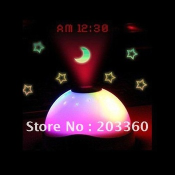 2012 Top Selling Moon Star Led Clock Projector Glowing Led Color Change Digital Alarm Clock free shipping to all country