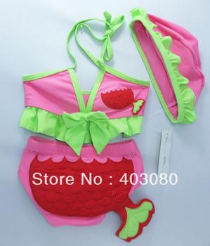 2012 newest swimming Children bikini,kid swimsuit&Swim cap,mermaid baby 3 suit swimsuit,Free shipping,wholesales