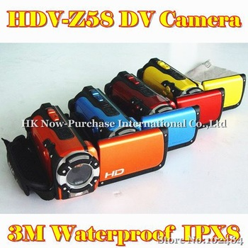 New Arrival 3M Waterproof Digital Video Camera DV 5.0 Mega-Pixel Sensor 4X Digital Zoom HDV-Z58