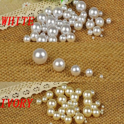 Livraison gratuite blanc et des tailles mélangées sans trou perles rondes pas de trou perles d'imitation de métier d'art diy perles
