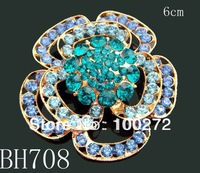 Wholesale woman fashion gold flowers crystal rhinestone alloy costume brooches,12pcs Mixed color Free shipping  BH708