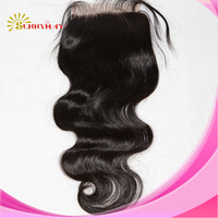 Stock 4 by 4 inches Body Wave Virgin Brazilian Hair Lace Top Closure