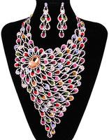 luxurious crystals Jewelry set modelshow/banquet/wedding Jewelry cubic zirconia multicolors NJ-609 chunky European style Rihood