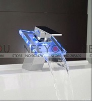 Free shipping LED Faucet 3 color Changing Kitchen Basin Tap Glass waterfall Mixer NY21051 [Factory supplies]