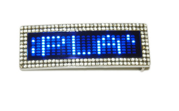 New Cool Stylish Programmable Scrolling Disco LED  Belt Buckle With Crystal Diamond Free Shipping
