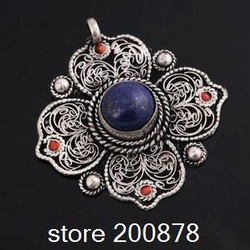 TBP121 Tibetan silver handmade pendants,42mm,vintage flower leaf colver amulets,mix order(China (Mainland))
