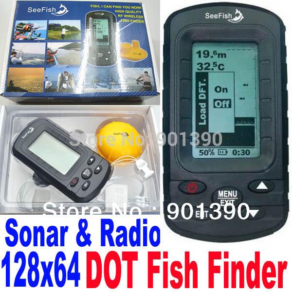 Wireless Portable TL66 LCD 3 inch display Dot Matrix Sonar Radio River Lake Sea Bed 40M Fishfinder Fish Finder Free Shipping(China (Mainland))