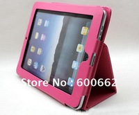 Free Drop shipping support - Hot PinK color Leather Stand Case for iPad 1 / Leather Cover for iPad 1 with retail package