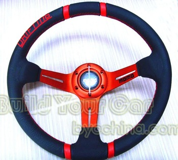 MOMO Drifting14 inch Leather Racing Steering Wheel for Modified Car --Show Your Style!-Build Your Car