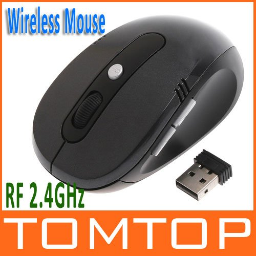 RF 2.4GHz Portable Optical Wireless Mouse USB Receiver 6 Keys 800/1600dpi Black Color(China (Mainland))