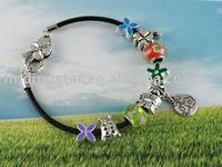 FREE SHIPPING Mixed 3pcs European style charm leather bracelet #20055,#20059,#20065