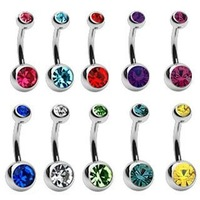Free Shipping 500 Pieces/LOT Jeweled Navel Rings, Press Set Setting Crystal Belly Rings Wholesale Bulk Body Jewelry