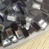 288Pcs 5X8MM Rectangle Rectangular DMC hotfix rhinestone Clear color iron on flatback Crystal