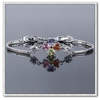 Aliexpress Sale 2014 Bracelets & Bangles Link Chain Platinum Plated Charm Zircon Bracelete Fashion Free shipping 13BRW-21