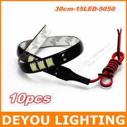 10pcs/lot 30cm 15LED 5050SMD flexible LED Strip Light LED Daytime Running Light free shipping(China (Mainland))