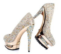 2011 sexy two paragraph waterproof, high heels shoes,colorful diamond women shoes