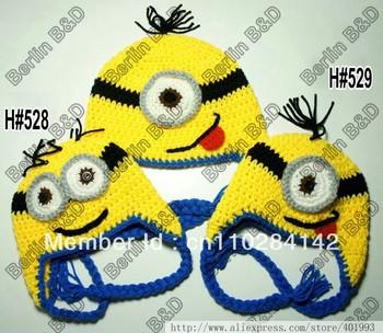 "30pcs Minion Crochet baby hat children cotton hat Cartoon Beanie ""despicable Me"" hat Handmade Crochet Newborn Baby caps"