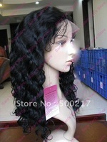 "Cheapest, 8""-22"", Glueless Lace Front Wig, Deep Wave, #1 Jet Black, Indian Remy Human Hair Front Lace Wigs"