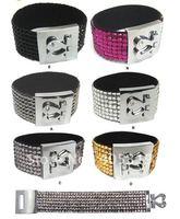 2011 fashion jewelers cheap rhinestone leather bracelet