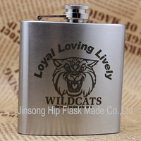 Retail & wholesales lead-free  6oz stainless steel hip flask with custom laser logo and printing
