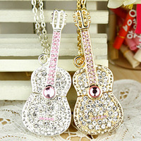 Crystal Guitar USB 2.0 Flash Memory Pen Drive Sticks Disk 4GB 8GB 16GB 32GB 64GB Free Shipping