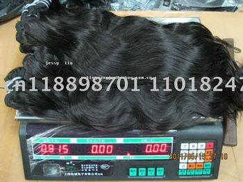 human hair, Virgin Remy(100% lndian human hair 15pcs/lot color1b# 900g/lot body weave 18 inches)DHL free shipping