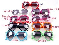 Free shipping+10 Colors Super star Plastic heart shape Sunglass, lovely peach heart sunglasses