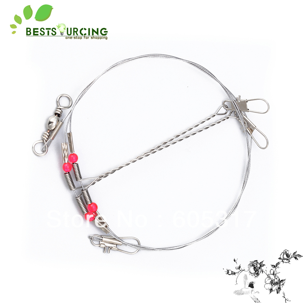 [special offer] 50pcs/lot Fishing Stainless Steel Wire Leaders with Rigs & Swivels + Free Shipping(China (Mainland))
