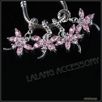 30pcs/lot Jewelry Dangle Pendant Silver Plated Pendant Beads Pink Rhinestone Dragonfly Pendant  29x19x3.5mm 151206
