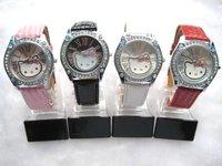 HELLO KITTY WATCH Lady Girl Leather band Watch Wristwatch fashion Quartz HELLO KITTY WATCH  10pcs