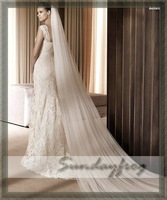 Fast Free Shipping In Stock Wedding 3M Long Veils Hot Sale Top Quality Veils in Ivory / White Color -LS307
