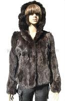 YR-038 Genuine rabbit fur hooded jacket ~wholesale~retail~OEM~
