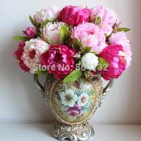 HOT 10pcs/lot Silk / Artificial / Simulation 7 Heads Spring Peony Bouquet Wedding & Home Christmas Showcase Decor50cm