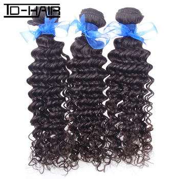 Free shipping retail 3pcs/lot,human remy hair,indian virgin hair deep wave, natural color 1b#, hot selling,deep curly