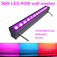 IP65,36W RGB LED wall washer,12*3W RGB 3in1,full color,24VDC,controllable,dimmable,support DMX with controller