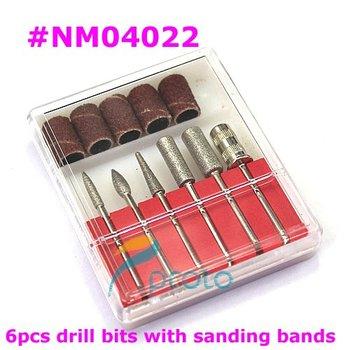 10 sets/lot 6PCS Drill Bits and Sanding band for Nail Drill Replacement Set Nail Electric File Metal Bits Nail Tools SKU:E0236XX