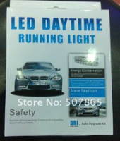 Free shipping 8 LEDS Auto LED daytime running lights DRL,12V/9.6W 1set
