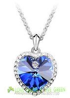 Free Shipping Gift Bag Hotselling wholesale Titanic Ocean Heart Crystal Zircon Rhine stone Pendant Necklace fashion jewelry 4097