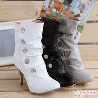 2014 New women motorcycle boots martin ankle New sexy women Round metal buckles heels Size