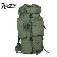 ROGISI 65L Outdoor Camping Hiking Bacpack Mochila de Campismo de 65 litros  Travel Wateproof  (Black /Gray/ Green/ Brown) SBS