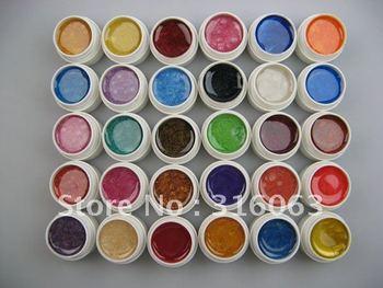 Hot Sell 5ml x 30pcs Nail Colorful Pearlescent Nacre UV Gel Set For Decoration Nail Art NA950