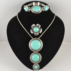 Tibetan Silver Turquoise Stone Vintage Jewelery Sets /Ring Bracelet Necklace Retro Jewellery/Free Shipping S003(China (Mainland))