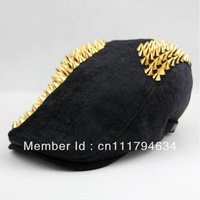 Wholesale women and men winter popular fashion adjustable spiked rivet linen ivy hats