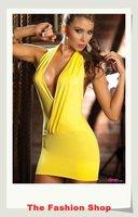 FREE SHIPPING 2014 New Sexy Women Clubbing Dress Fashion Halter Neck Backless Mini Dress Size M YBF019 Yellow
