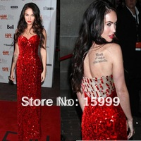 2013 Strapless Long Red Beaded Party Prom Ball Evening Celebrity Ladies Dresses JH242