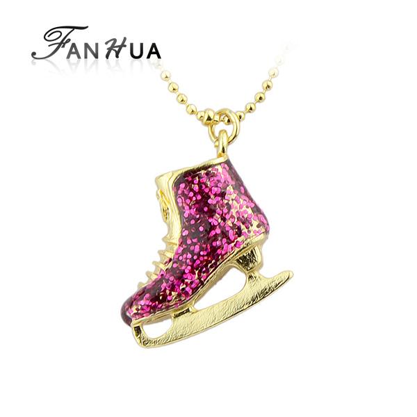 Boho Chic Bijoux Mulheres cor dourada cadeia liga colar de pingente bonito Rhinestone Ice Skate Shoes Bijuteria(China (Mainland))