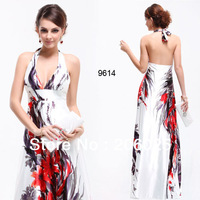 09614 Sexy V-neck Floral Printed Satin Halter Long Evening Dress 2014 New Arrival Evening Gown