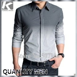 FASHION COLOR CHANGING SHIRT, MAN'S CASUAL SHIRT, GOOD QUALITY COTTON SHIRT, LOW PRICE FREE SHIPPING(China (Mainland))